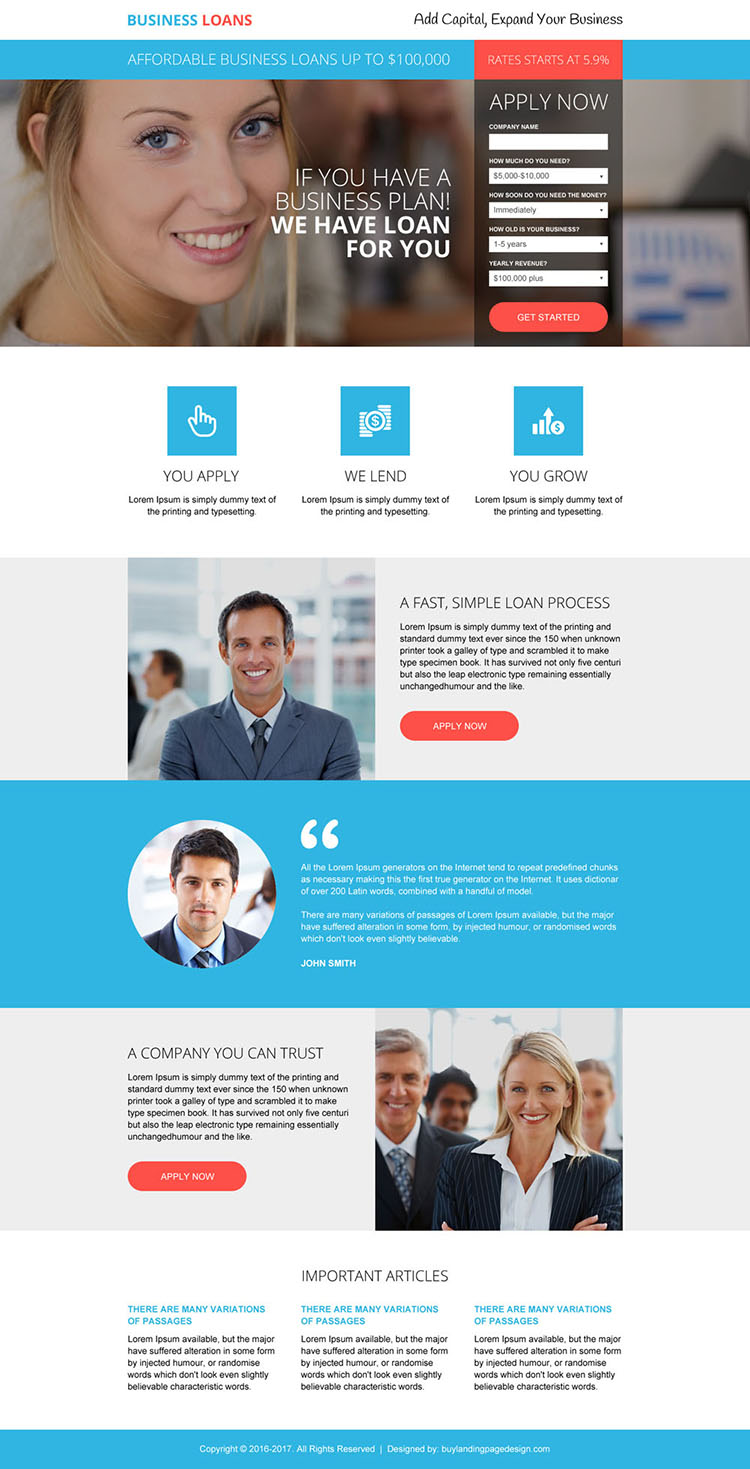 responsive business loan lead capturing landing page design