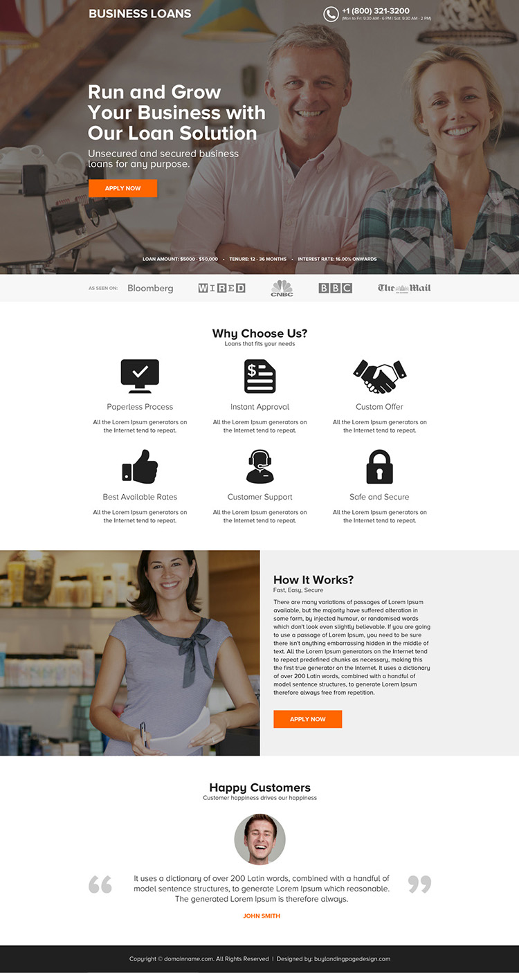 minimal business loan online application click through landing page