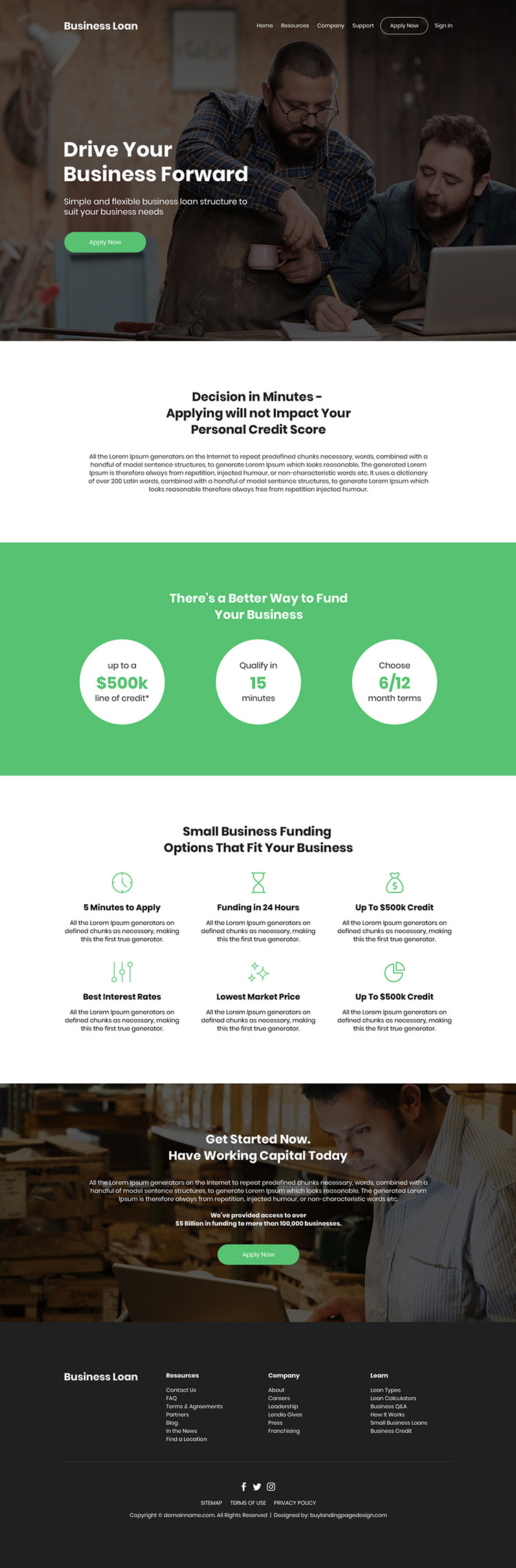 small business funding bootstrap website design