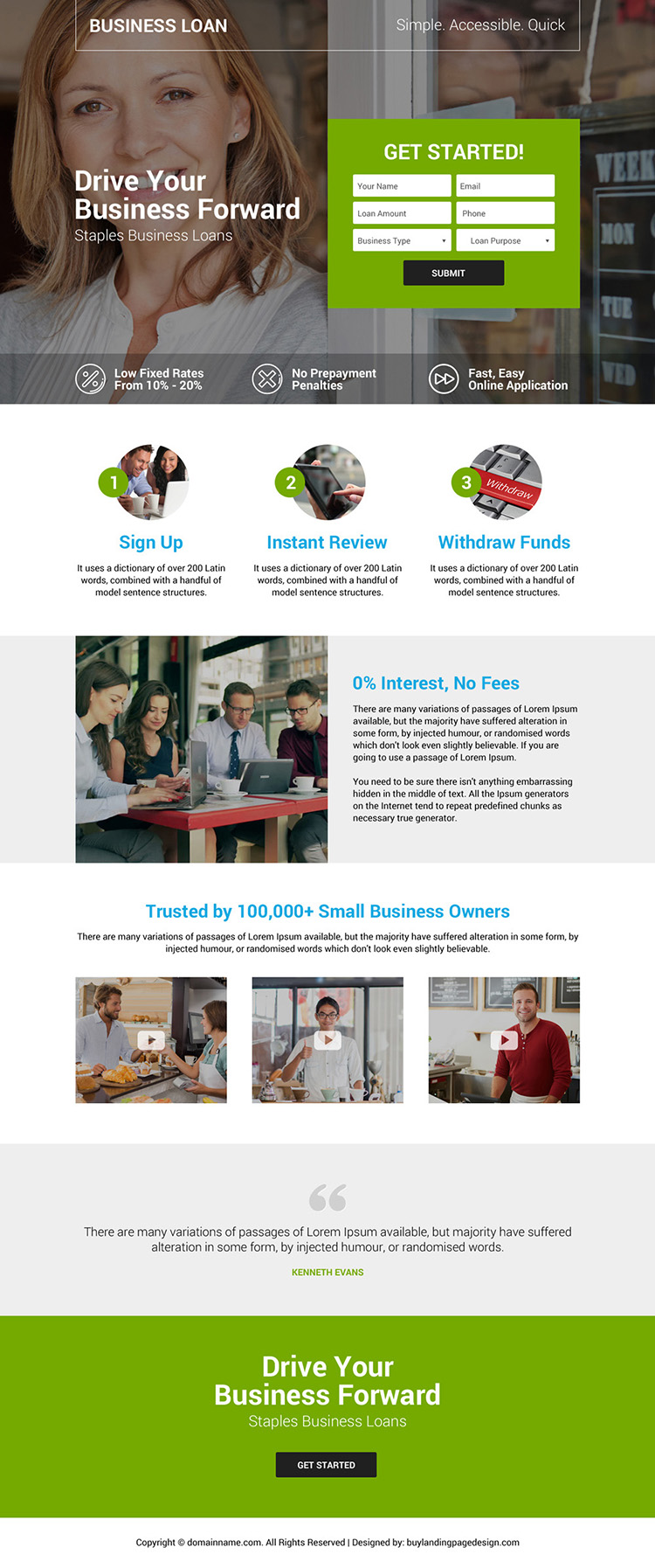 small business owners loan landing page design