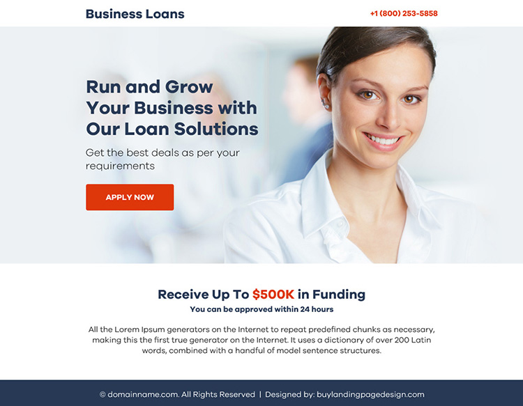 business loan solution ppv landing page design