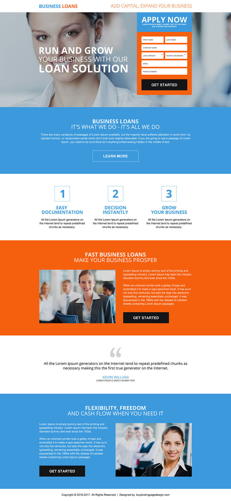business loan best converting landing page design