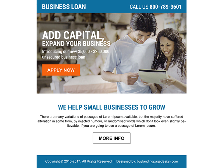 business loan ppv landing page design with strong call to action button