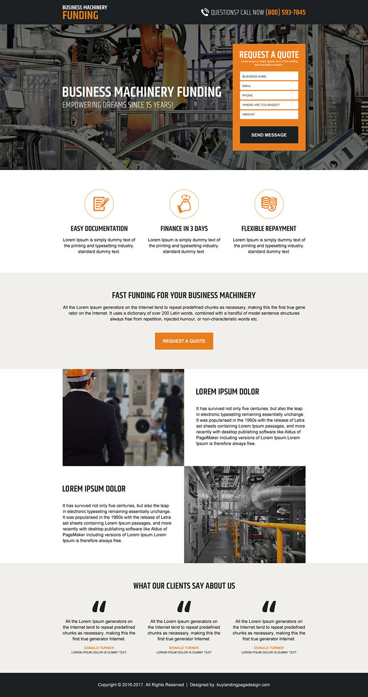 business machinery funding lead capturing landing page design