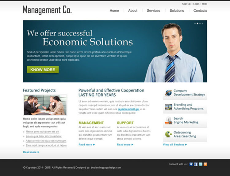 successful economic solution call to action clean business management website template design