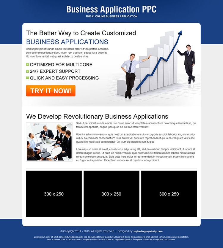 business application call to action ppc landing page