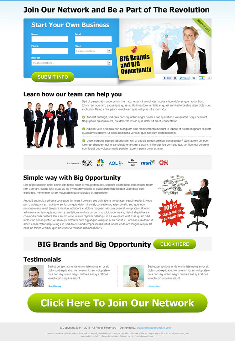 big brands and big opportunity effective and converting clean business opportunity landing page design
