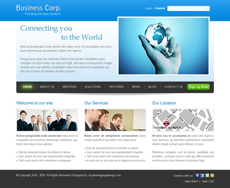 connecting you to the world business networking website template psd
