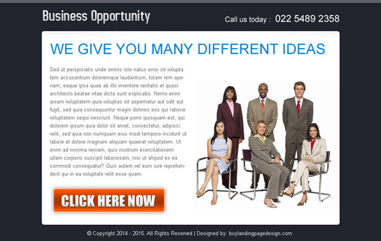 ideas for your business opportunity ppv landing page design template