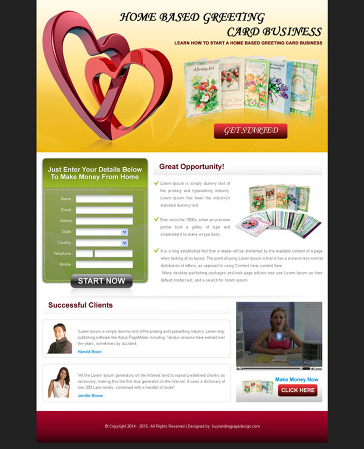 home based greeting card business lead capture landing page design for sale
