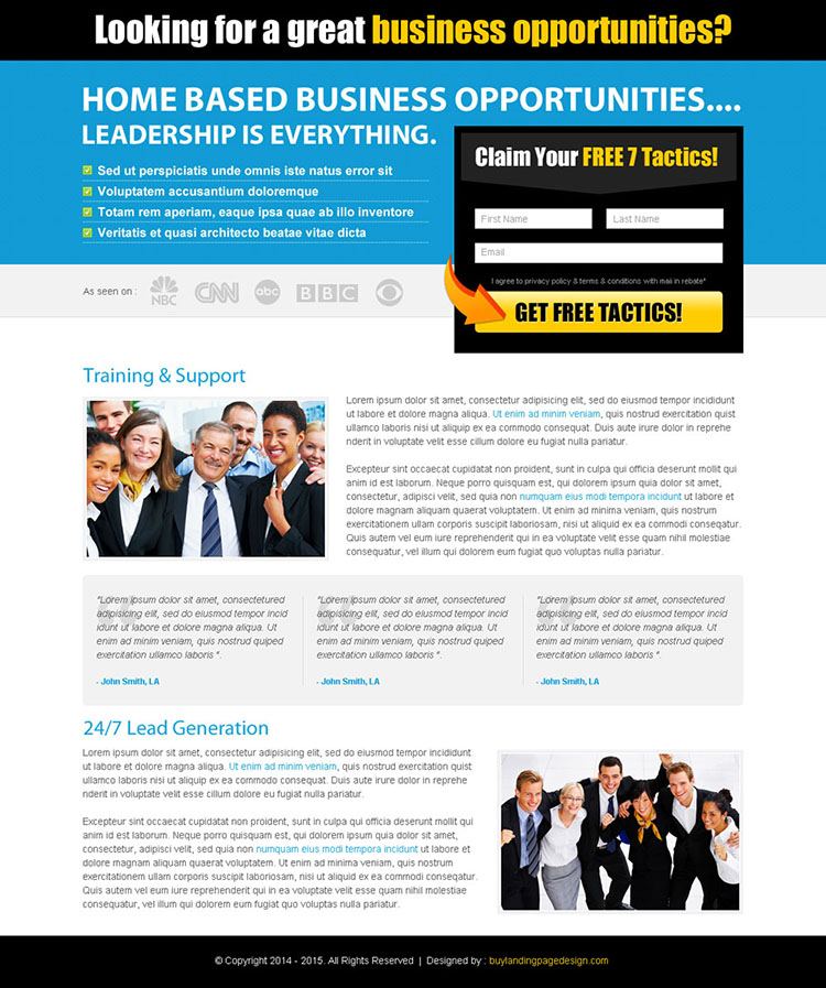 business opportunity landing page design template for sale