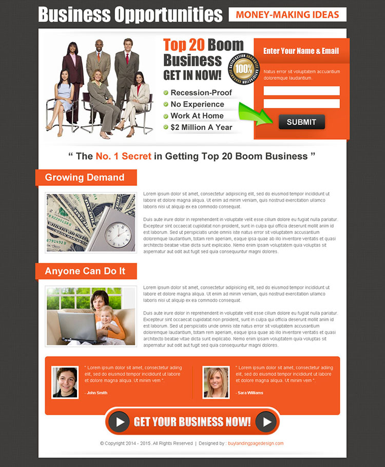 small lead capture business opportunity landing page design