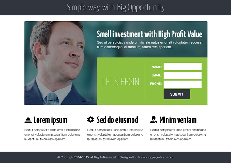 business opportunity lead capture ppv landing page design