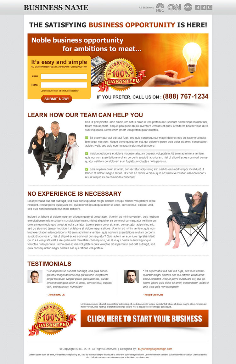 noble business opportunities for ambitions small and creative lead capture landing page design