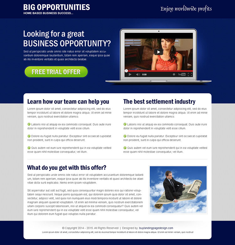 big business opportunity video trial offer landing page design