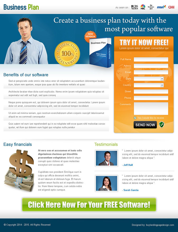 create a business plan today creative landing page design for sale
