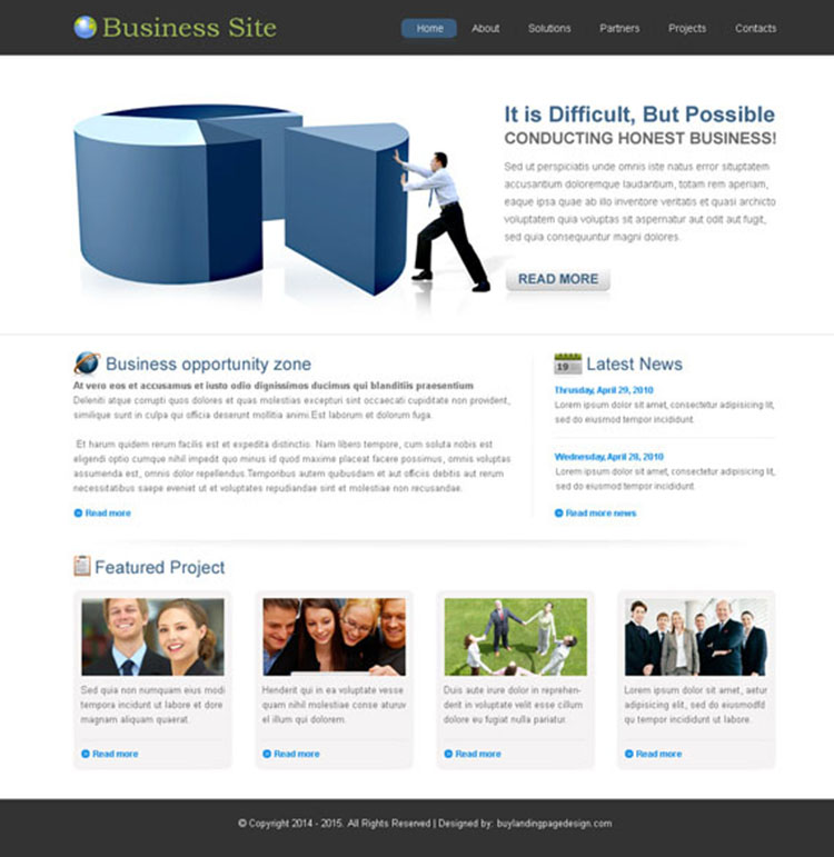clean and converting business website template psd