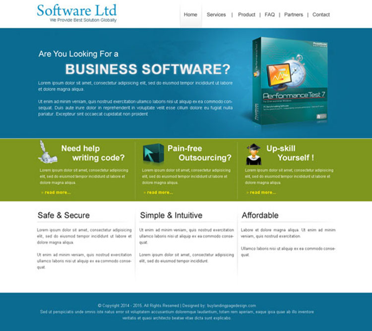 business software clean and converting website template design psd