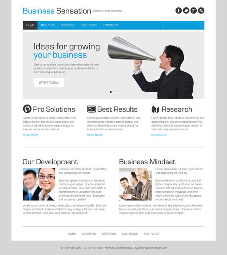 business sensation clean and effective website template design