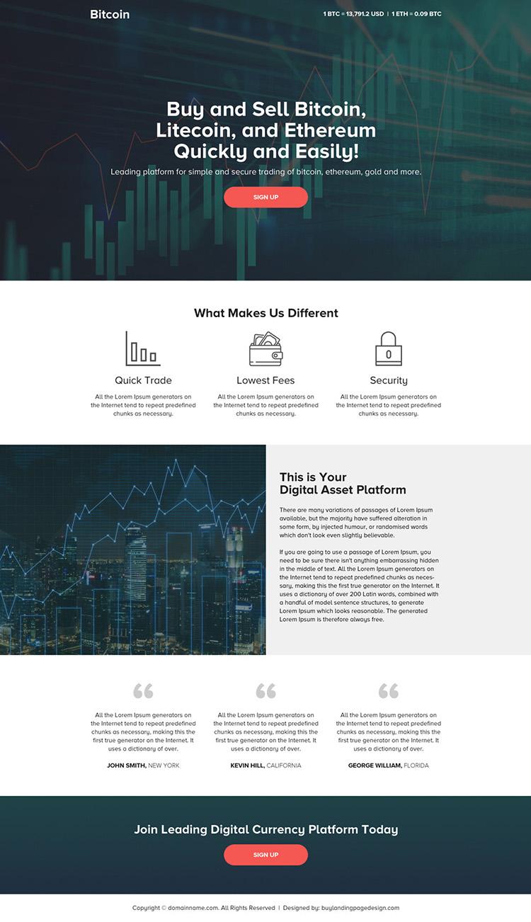 responsive digital currency platform landing page design