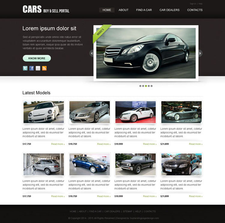 clean and attractive car selling portal website template design psd