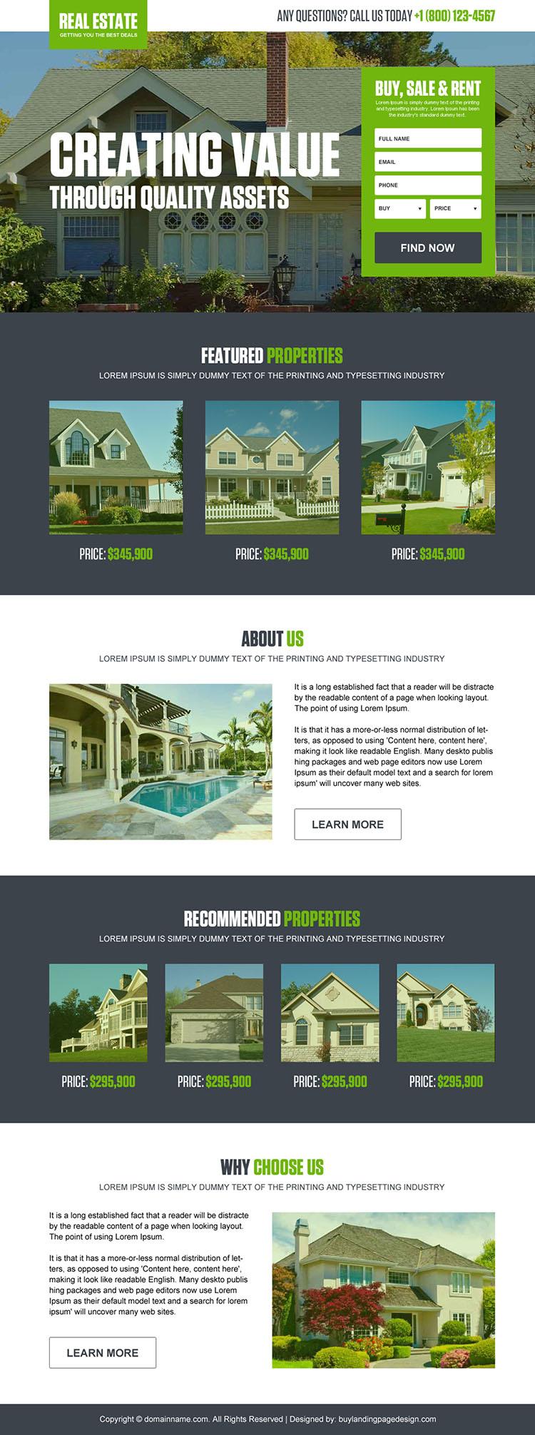 real estate properties bootstrap landing page design
