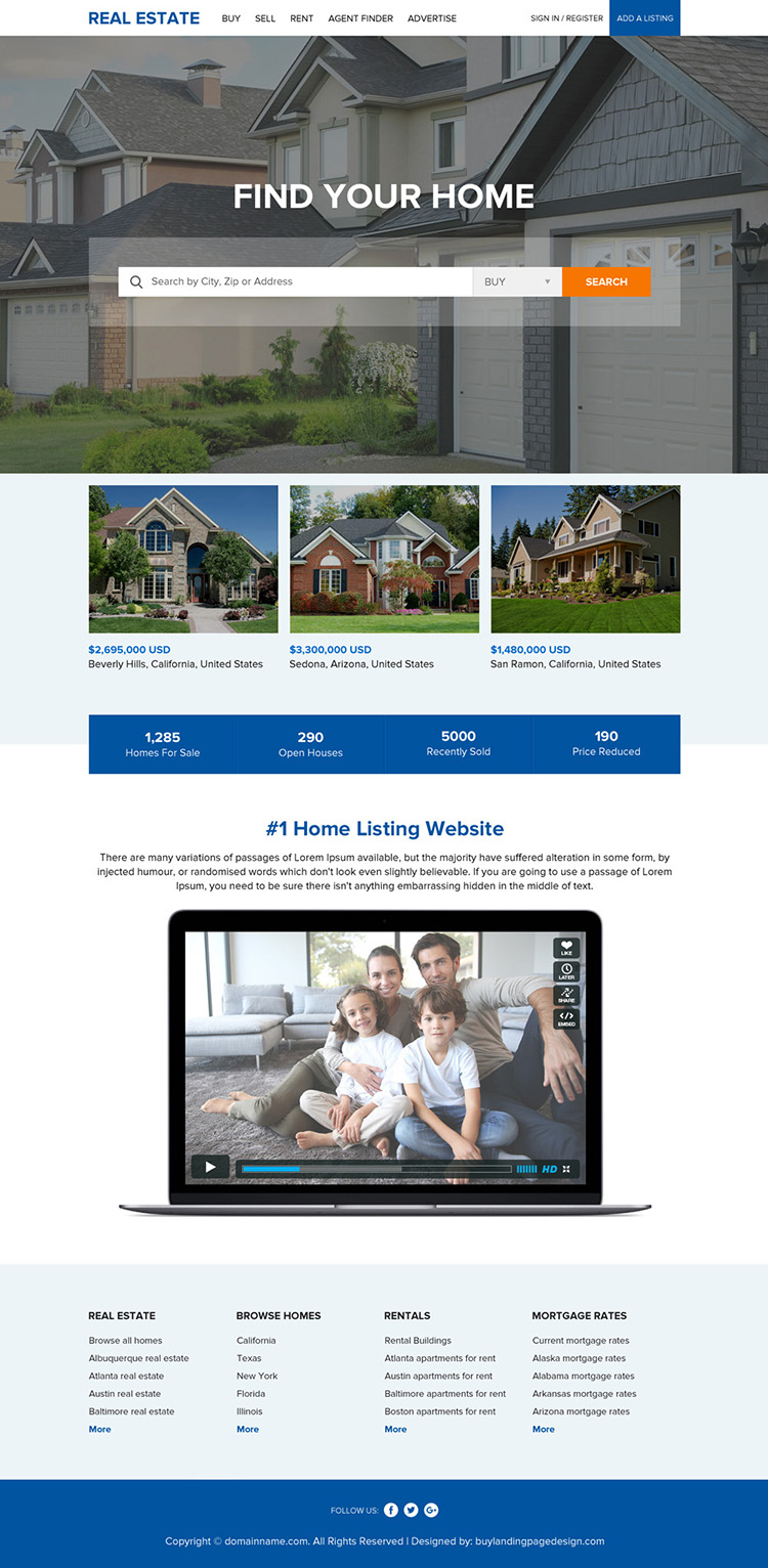 clean and professional real estate responsive website design