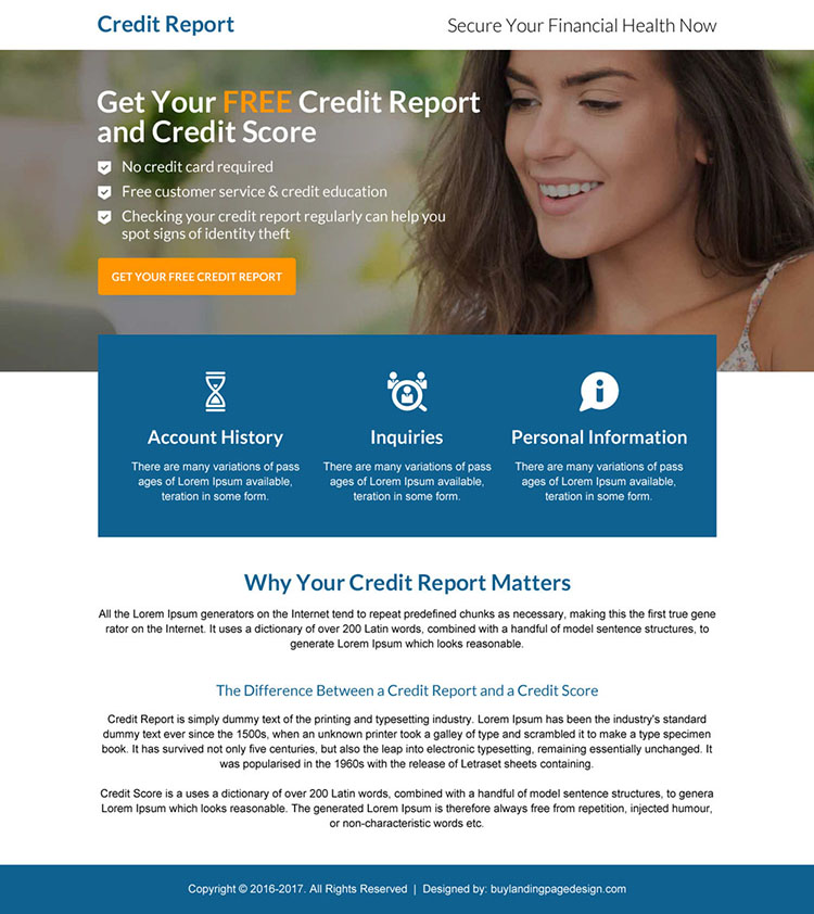 credit report call to action mini landing page design
