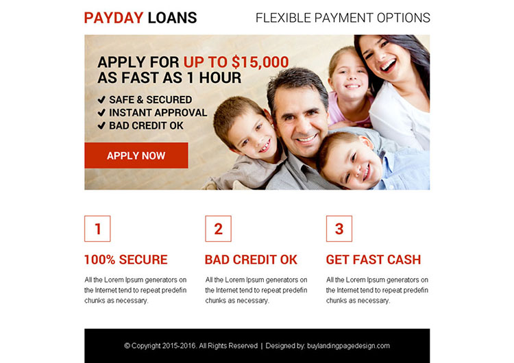 best payday loan ppv landing page design