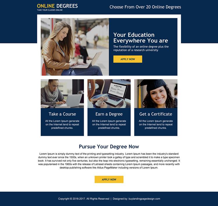 responsive online degree minimal landing page design