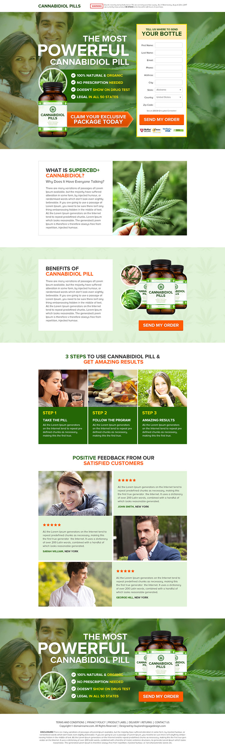 cannabidiol health supplement pills selling responsive landing page