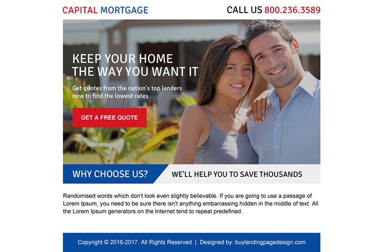 appealing capital mortgage ppv landing page design
