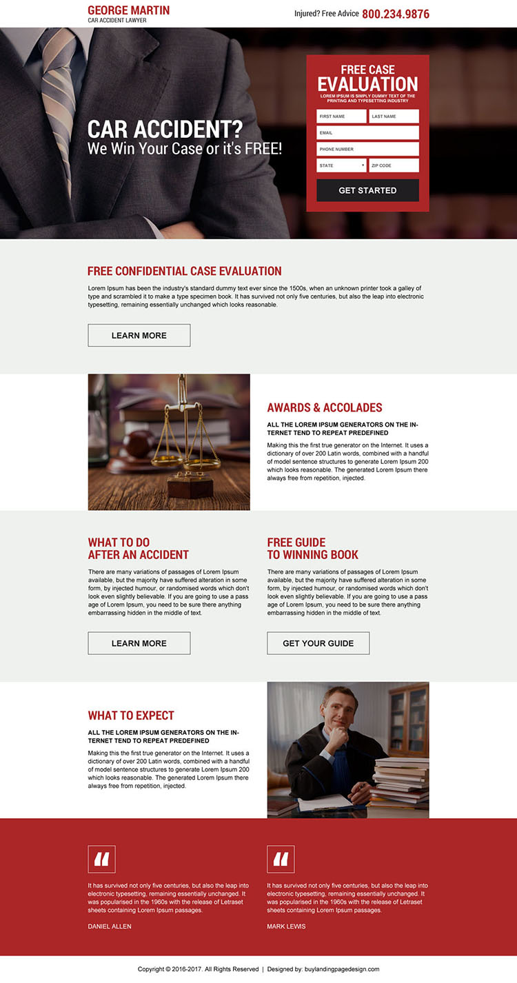 car accident lawyer case evaluation landing page design