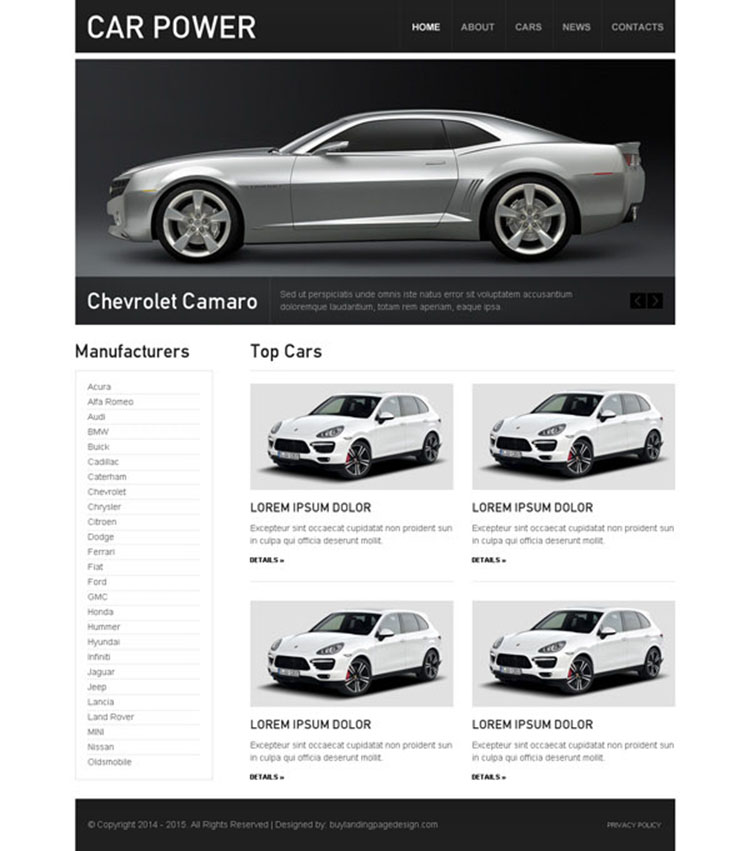 clean and converting car dealer website template design psd