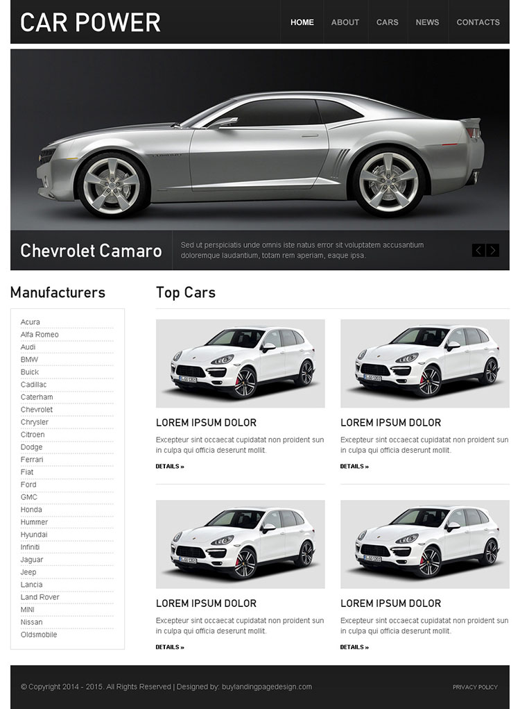 car dealer clean and converting html website template design