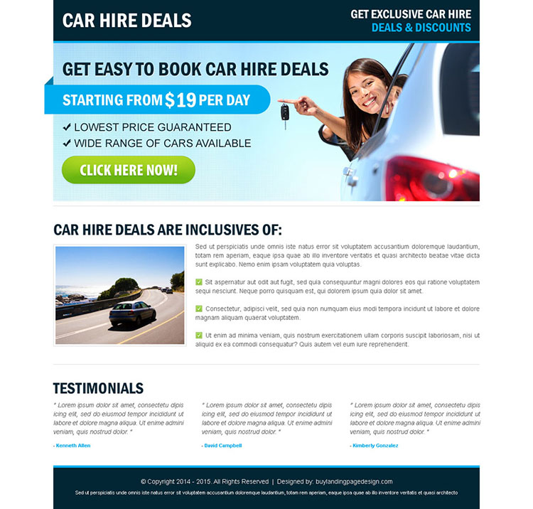 car hire call to action effective landing page