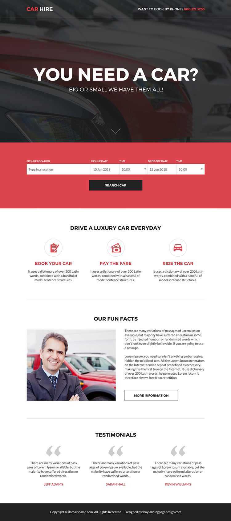 responsive car hire services bootstrap landing page