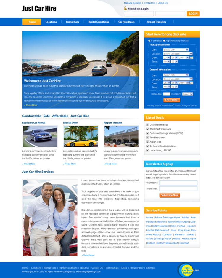 car hire lead capture clean and effective website template design psd