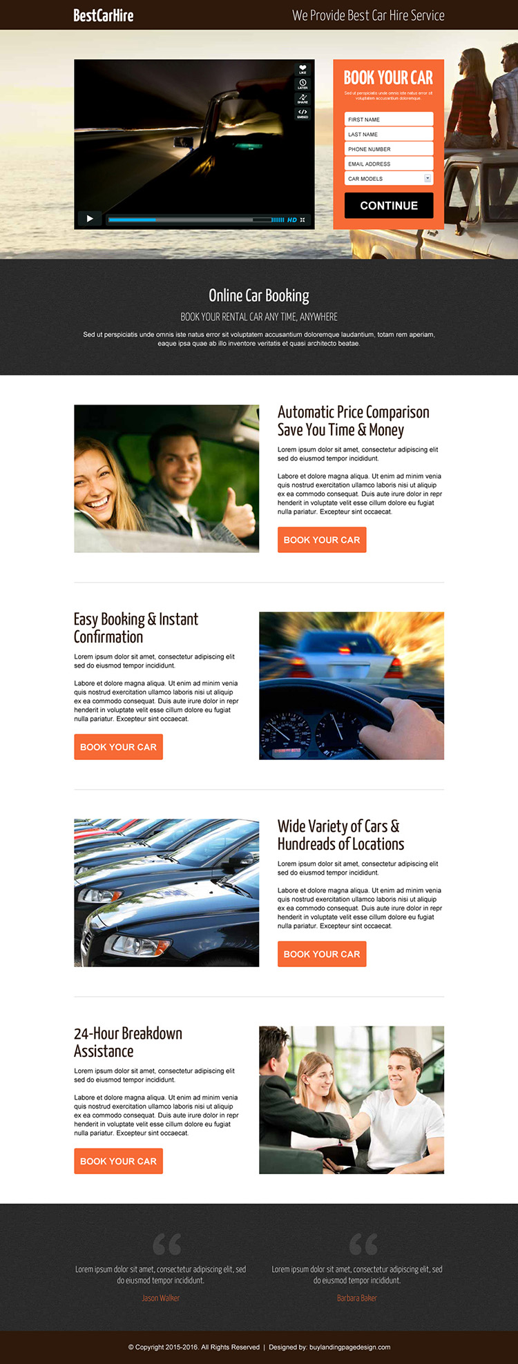 best car hire lead capture responsive video landing page design