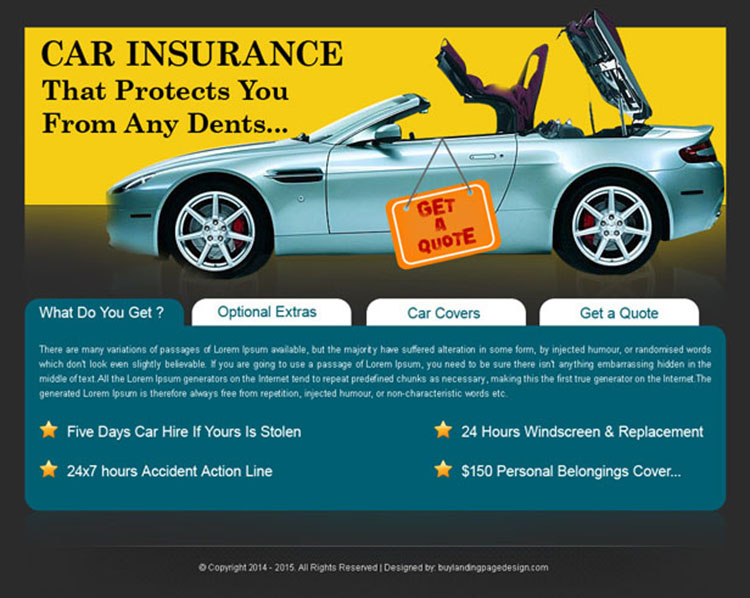 car insurance simple landing page design for sale