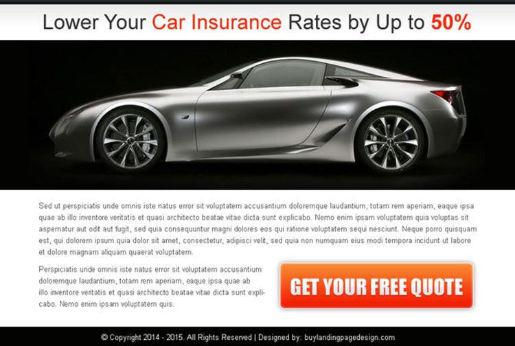 lower your car insurance rates free quote ppv landing page design