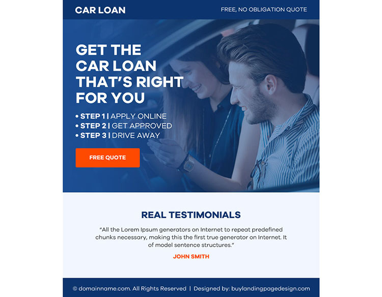 auto finance free quote ppv landing page design