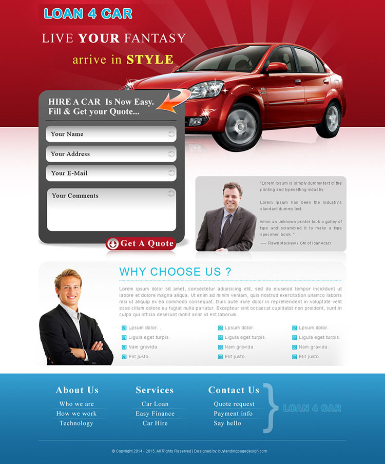 car loan appealing lead generating landing page design