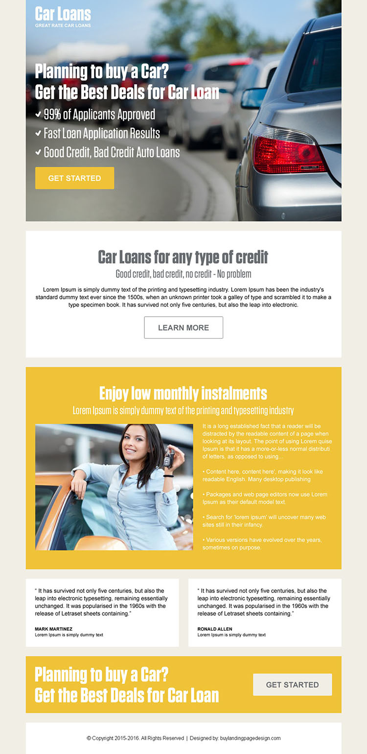 car loan pay per click converting landing page design