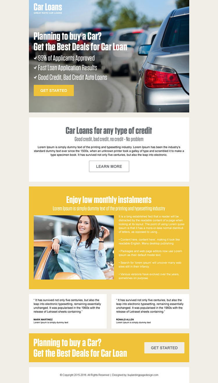 car loan pay per click landing page design template