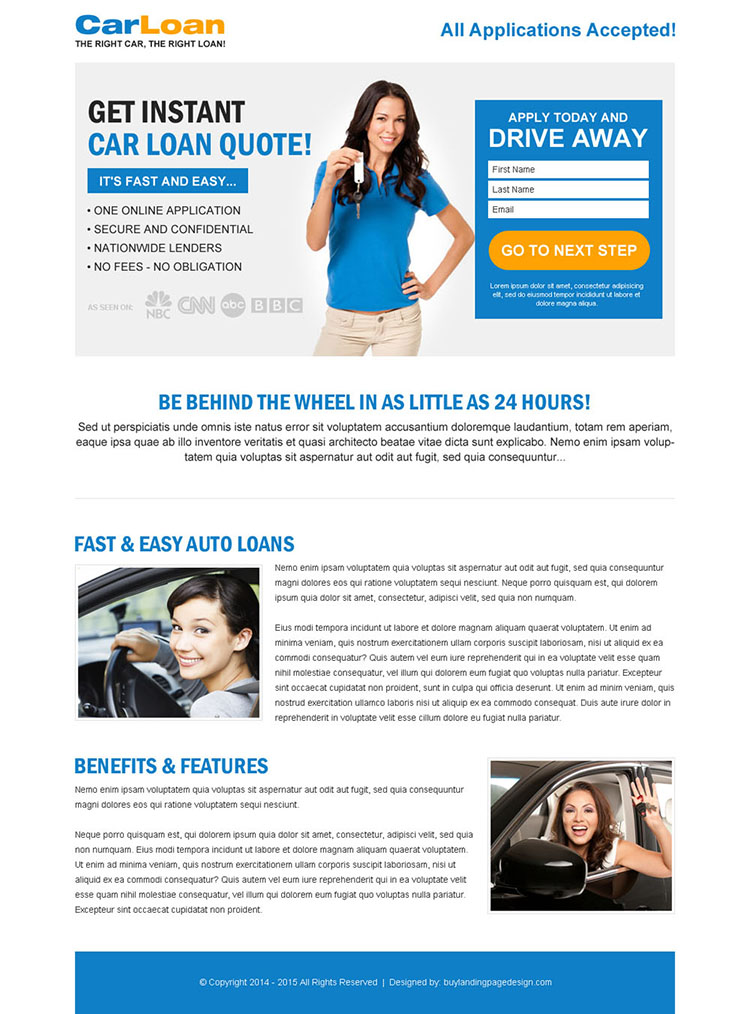 white and blue car loan lead capture responsive lander design
