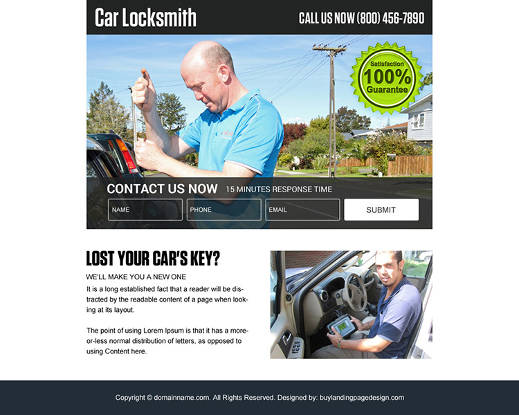 car locksmith services ppv landing page design