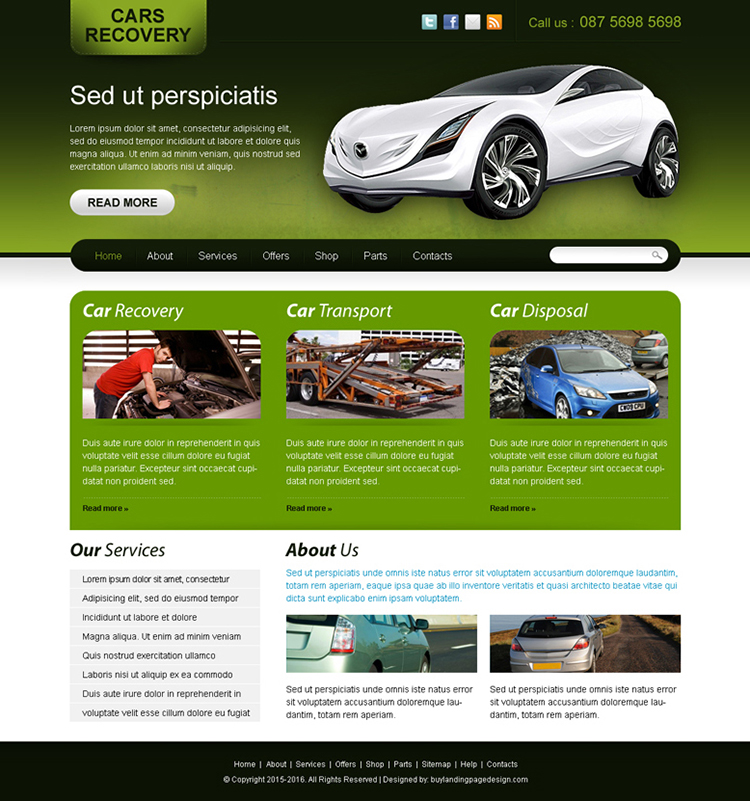 car recovery website template design for sale