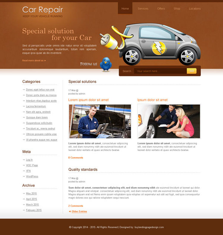 car repair service website template design psd