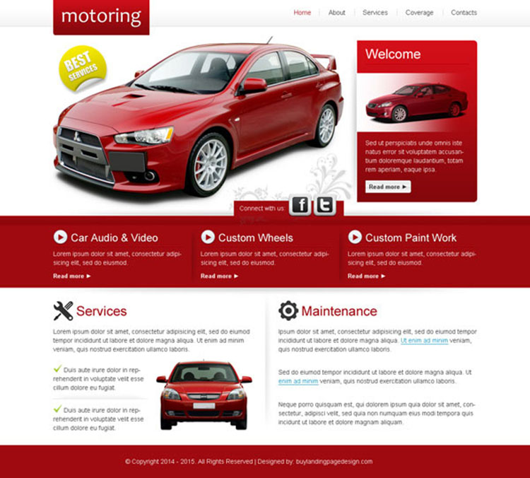 attractive and converting car service maintenance website template design psd
